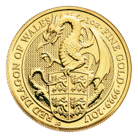 1 oz 2017 Royal Mint Queen's Beasts | Red Dragon of Wales Gold Coin