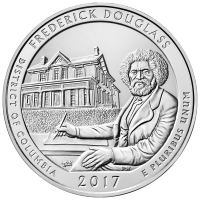 5 uns 2017 America the Beautiful | Frederick Douglass Nationella Historiska Plats Silvermynt