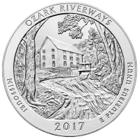 America the Beautiful 2017 de 5 onces | Pièce d'argent Ozark National Scenic Riverways