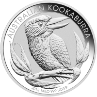 1 kg | Kilo Silbermünze australischer Kookaburra 2012
