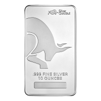 10 oz Silver Gold Bull Silver Bar