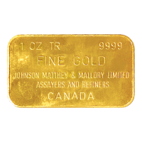 1 oz Johnson Matthey and Mallory Vintage Gold Bar