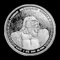 1 oz 2017 Congo Zilverrug Gorilla Zilveren Munt
