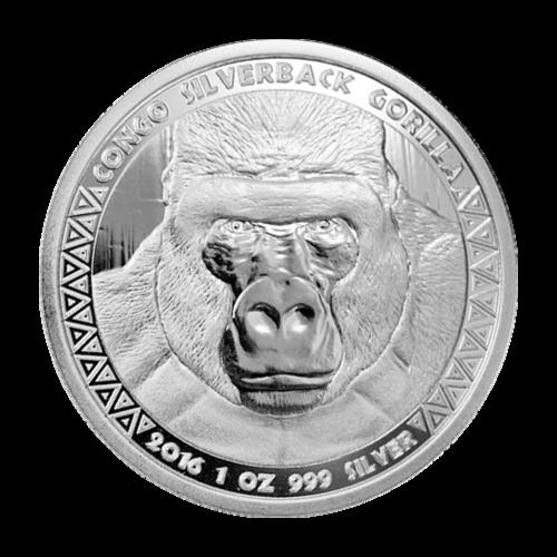 Moneda de Plata Gorila Espalda Plateada Congo 2016 de 1 oz