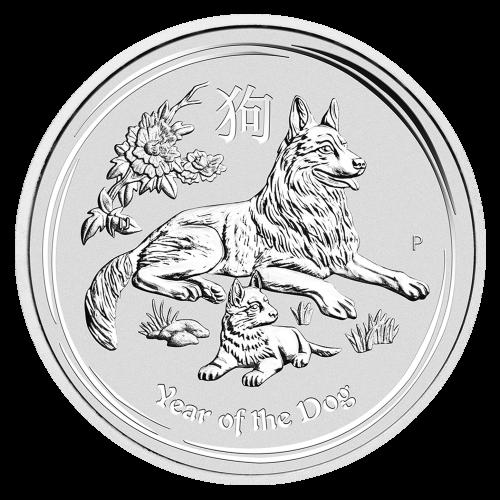 2 oz Silbermünze Jahr des Hundes Perth Mint Mondserie 2018