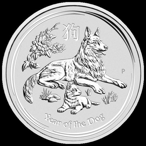 5 oz 2018 Perth Mint Lunar Year of the Dog Silver Coin