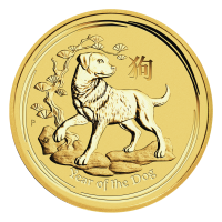 1 oz Goldmünze Jahr des Hundes Perth Mint Mondserie 2018