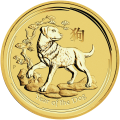 2 oz Goldmünze Jahr des Hundes Perth Mint Mondserie 2018