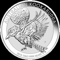 1 kg | Kilo Silbermünze australischer Kookaburra 2018