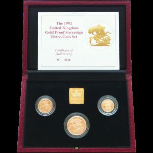 Juego de 3 Monedas de Oro Proof Soberanas de Gran Bretaña 1992