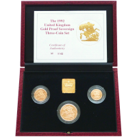 1992 Great Britain Sovereign 3 Gold Coin Proof Set