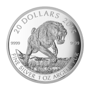 1 oz 2015 The American Scimitar Sabre Tooth Cat Silver Coin