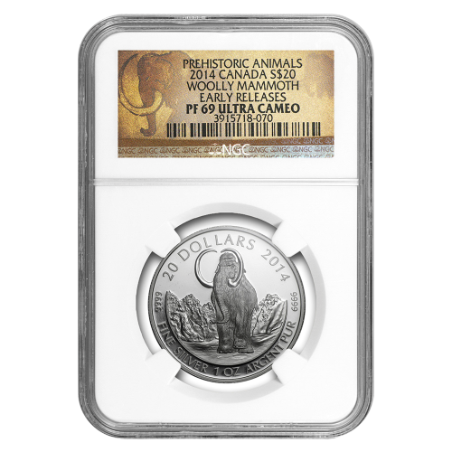 1 oz 2014 Woolly Mammoth NGC PF-69 (ER) Silver Coin