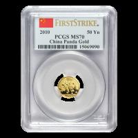 Moneda de Oro MS 69 Primera Acuñación PCGS Panda Chino 2010 de 1/10 oz