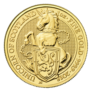 1 oz Goldmünze - Queen's Beasts (Die Tiere der Königin) | Einhorn von Schottland - Royal Mint 2018