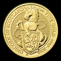 Les bêtes de la reine de la Royal Mint 2018 de 1 once | Pièce d'or L'unicorne d'Écosse