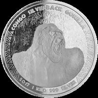 1 kg | Kilo Silbermünze Kongo Silberrücken-Gorilla 2017
