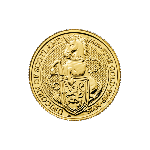 1/4 oz 2018 Royal Mint Queen's Beasts | Unicorn of Scotland Gold Coin