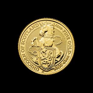 Les bêtes de la reine de la Royal Mint 2018 de 1/4 d'once | Pièce d'or L'unicorne d'Écosse