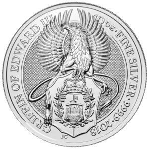 10 oz 2018 Royal Mint Queen's Beasts | Griffin of Edward III Silver Coin