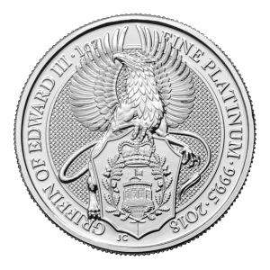 1 oz Platinmünze - Queen's Beasts (Die Tiere der Königin) | Der Greif Edwards III - Royal Mint 2018