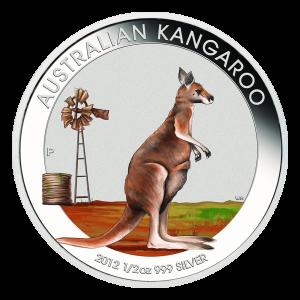 1 oz Silbermünze australisches Känguru Münzshow Sonderausgabe in Farbe 2012