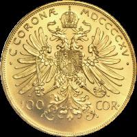 Moneda de Oro 100 Coronas Austríacas Año Aleatorio