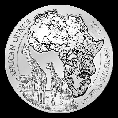 Pièce d'argent Girafe africaine rwandaise 2018 de 1 once