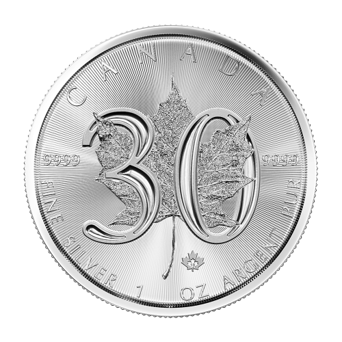 1 oz 2018 Canadisk Maple Leaf 30-årsjubileum Sølvmynt