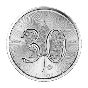 1 oz 2018 Canadian Maple Leaf 30th Anniversary Silver Coin