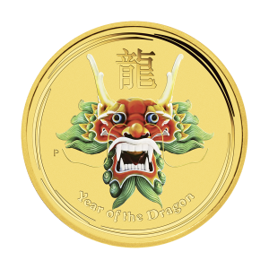 1/2 oz farbige Goldmünze Drache Perth Mint 2012