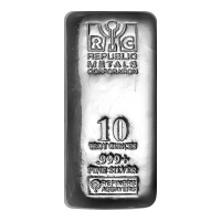 10 Oz Republic Metals Corporation Cast Silver Bar Silver