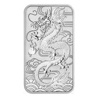 1 oz 2018 Perth Mint Dragon Silver Rectangular Coin