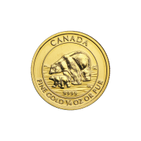 Moneda de Oro Oso Polar y Cachorro Canadiense 2015 de 1/4 oz