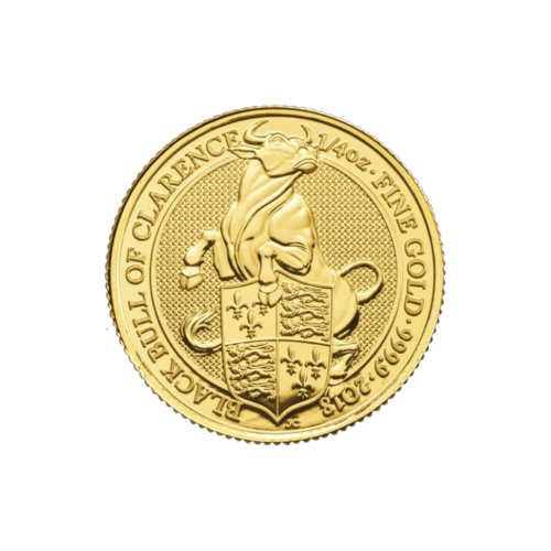 1/4 oz 2018 Royal Mint Queen's Beasts | Black Bull of Clarence Gold Coin