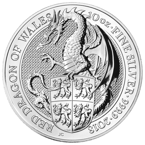 10 oz 2018 Royal Mint Queen's Beasts | Red Dragon of Wales Sølvmynt