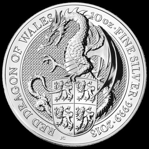 Les bêtes de la reine de la Royal Mint 2018 de 10 onces | Pièce d'argent Dragon rouge du pays de Galles