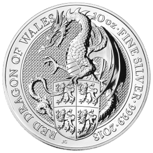 10 oz Silbermünze - Queen's Beasts (Die Tiere der Königin) | Der rote Drachen von Wales - Royal Mint 2018