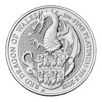 1 oz 2018 Royal Mint Queen's Beasts | Red Dragon of Wales Platinum Coin