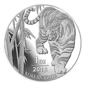 1 oz 2018 South Korean Tiger Silver Round