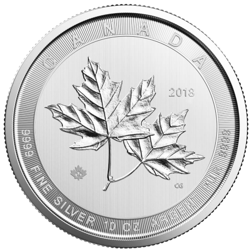 Pièce d'argent Magnifiques feuilles d'érable de la Monnaie royale canadienne 2018 de 10 onces