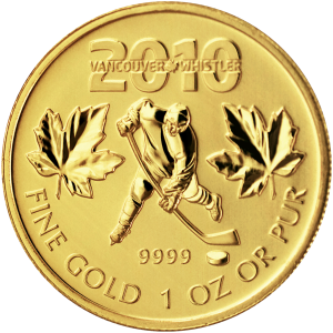 1 oz Goldmünze kanadisches Olympia Hockey 2010
