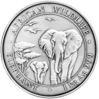 1 kg | kilo 2015 Somalian African Antiqued Elephant Silver Coin