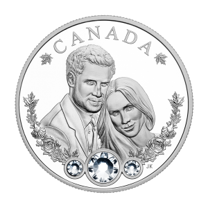 1 oz 2018 Royal Wedding of Prince Harry and Meghan Markle Swarovski® Silver Coin