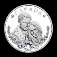 Pièce d'argent décorée de cristaux Swarovski® Mariage du prince Harry et de Meghan Markle 2018 de 1 once