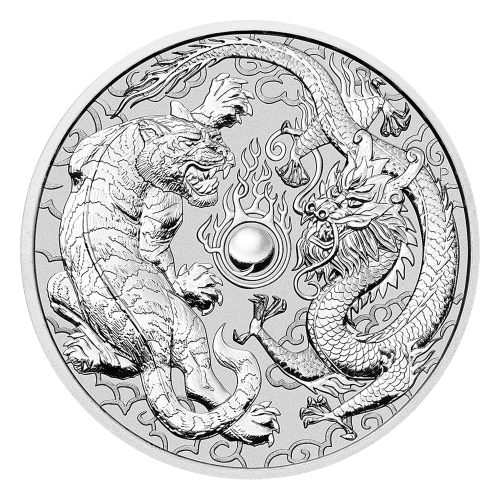 1 oz 2018 Perth Mint Dragon and Tiger Silver Coin