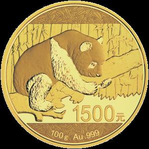 Pièce d'or de qualité épreuve numismatique Panda chinois 2016 de 100 g   Tachée