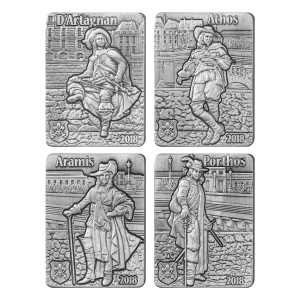 Set of 4 x 1 oz 2018 The Three Musketeers Silver Coins