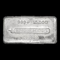 Lingot d'argent ancien coulé Engelhard de 10 onces