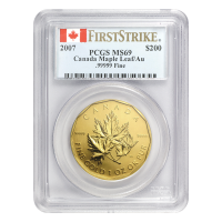 1 oz Goldmünze Royal Canadian Mint 99999 PCGS Erstabschlag MS 69 2007